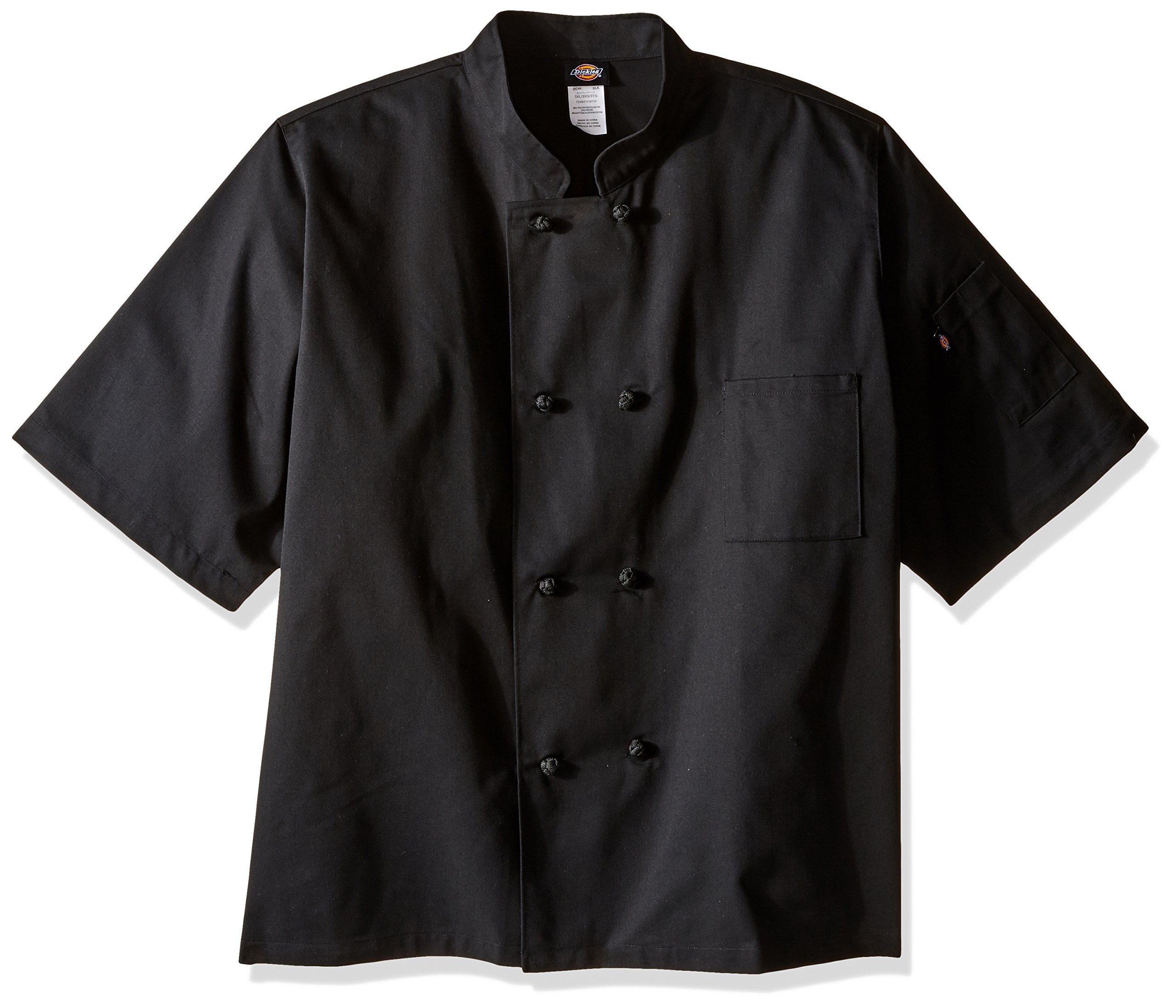Dickies Chef Classic Knot Button Short-Sleeve Coat, Black, 4X-Large