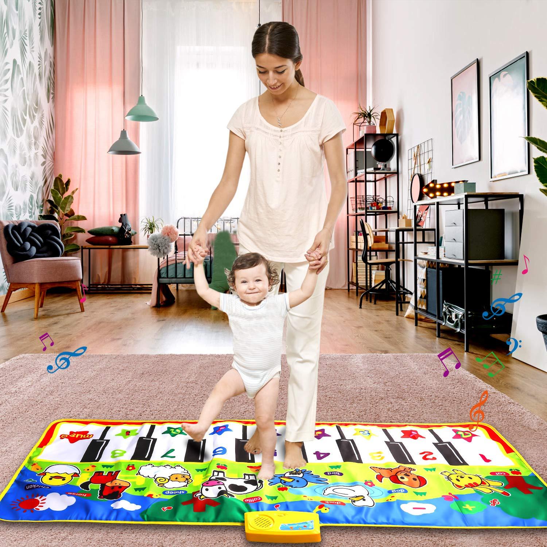 M SANMERSEN Piano Music Mat, Music Dance Mat, Keyboard Play Mat, Animal Blanket Carpet Playmat, Musical Touch Play Game Gifts for Kids Toddlers Girls Boys, 53'' x 23'' by M SANMERSEN (Image #6)