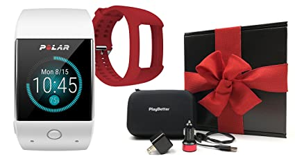 Polar M600 (White) Gift Box Bundle | Includes Extra Silicone Band (Red), PlayBetter USB Car & Wall Charging Adapters, Hard Case | GPS Sports Smart ...