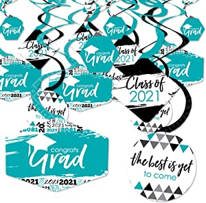 Big Dot of Happiness Teal Grad - Best is Yet to Come - 2021 Turquoise Graduation Party Hanging Decor - Party Decoration Swirls - Set of 40