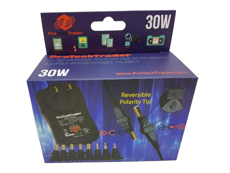 3vdc -12 volt Universal AC/DC Power Adapter USB Port | 8 Reversible  Polarity Positive or Negative Tips Center Tip 3v 4 5v 5v 6v 7 5v 9v 12v 1a  12w