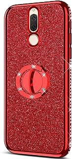 KunyFond Coque Silicone Paillette Etui Ultra Fine Paillette Strass Brillante Housse Stand Titulaire Étui Souple Flexible Mince TPU Protection Bumper Couverture Compatible Huawei Mate 10 Lite,Argent