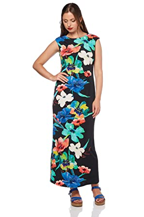 6cb636c7b6 Roman Originals Women's Tropical Print Jersey Maxi Length Dress - Ladies  Summer Holiday Long Dresses - Multi - Size 10: Amazon.co.uk: Clothing