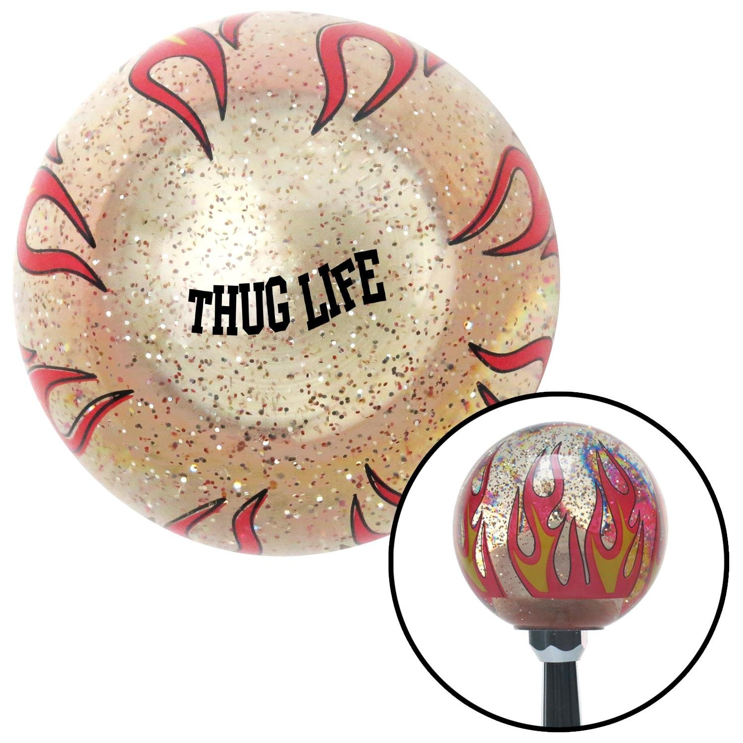 American Shifter 296357 Shift Knob Black Thug Life Clear Flame Metal Flake with M16 x 1.5 Insert