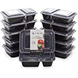 BINO Meal Prep Containers with Lids - 2 Compartment /30 oz [12-Pack], Black - Bento Box Lunch Containers for Adults Food Cont