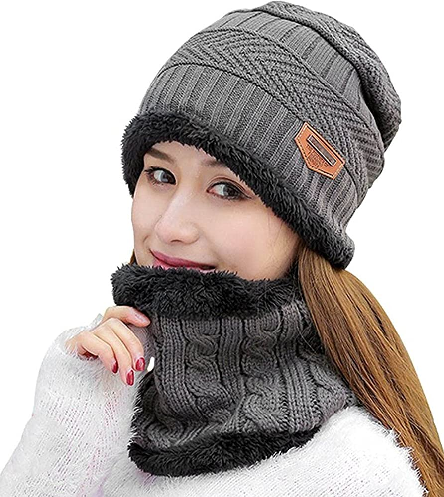 Men Slouchy Beanie Winter Neck Warmer with Thick Fleece Lined Hats Set Women Skull Cap Knit Scarf for Outdoor