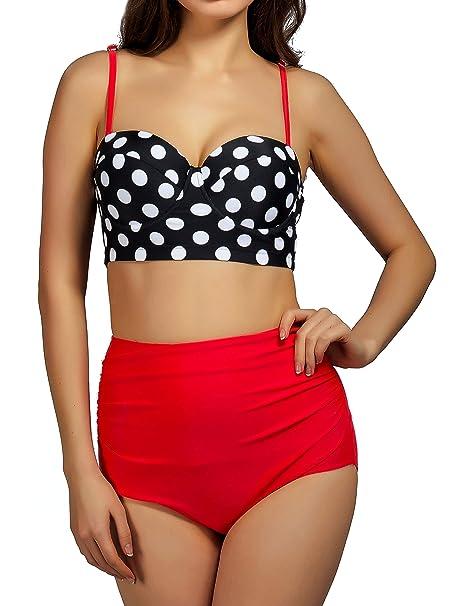 a9e8cbf724712 Women Vintage High Waist Bikini Set Two Piece Swimsuit Pin up Bathing Suits  L: Amazon.ca: Luggage & Bags