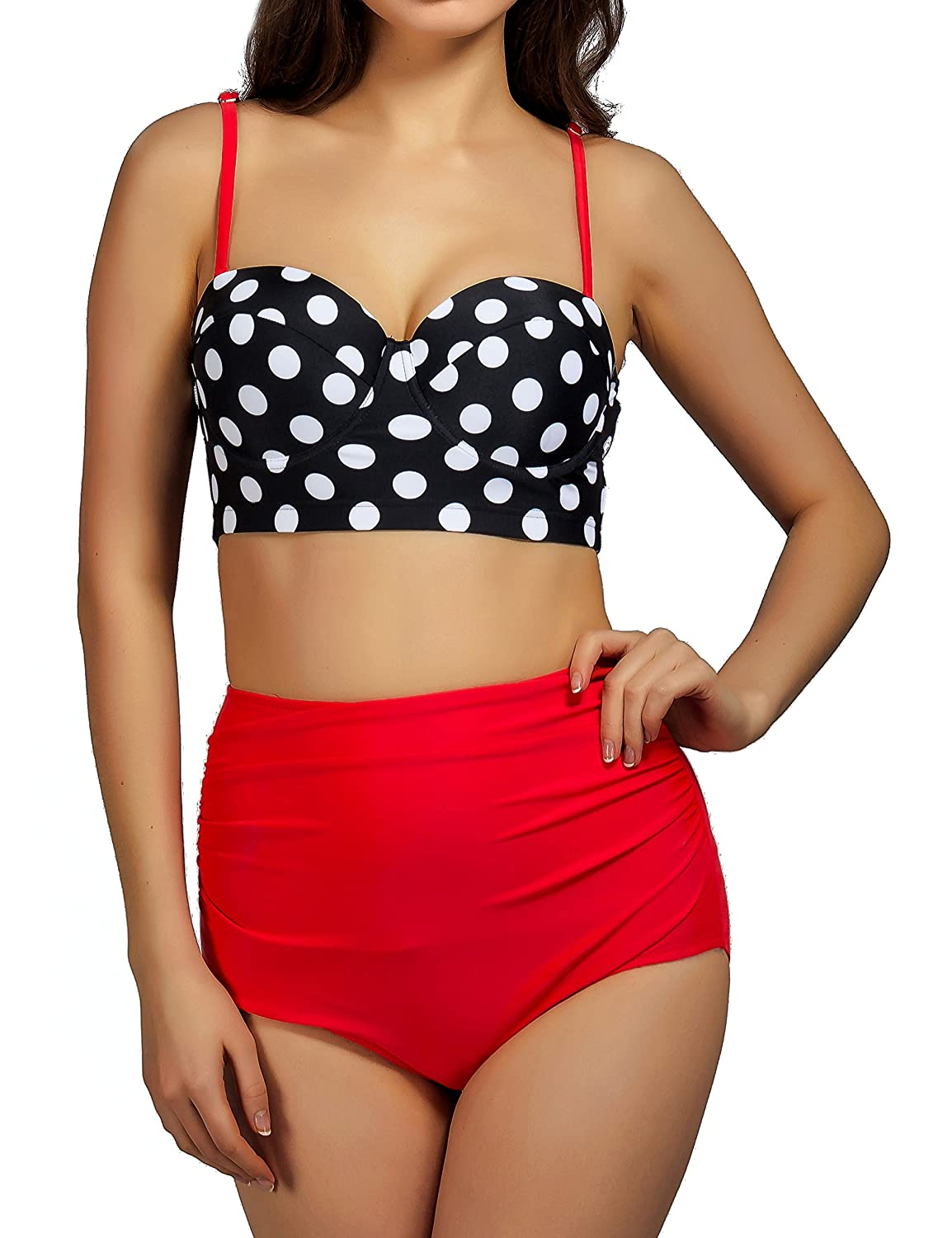 Womens Summer Polka Dots Print High Waisted Swimwear Retro Bikini Top Bandage Bottom Swimsuit Black Red Clearance Price