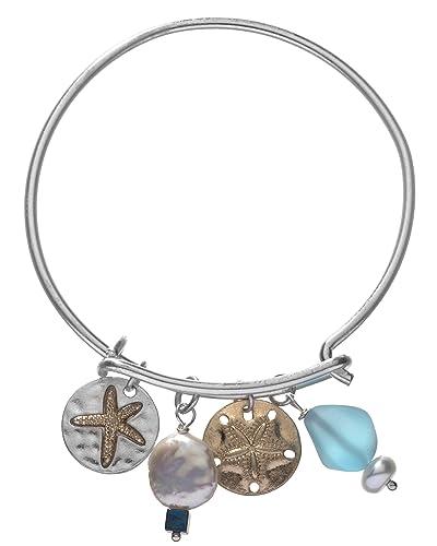f6fe50ceb34 Amazon.com: Handmade Sand Dollar Starfish Bracelet with Swarovski ...
