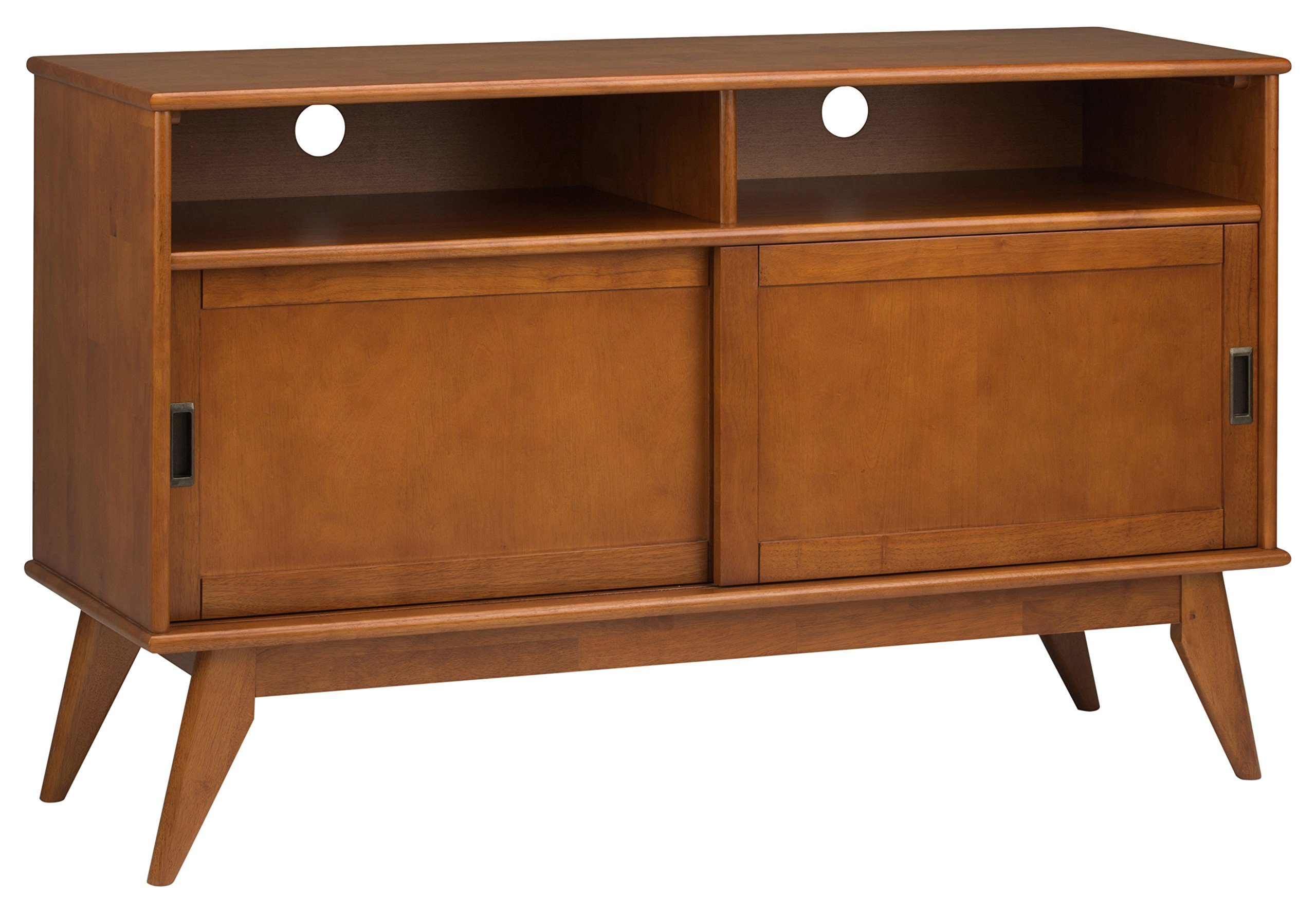 Simpli Home 3AXCDRP-09-TK Draper Solid Hardwood 54 inch wide Mid Century Modern TV media Stand in Teak Brown For TVs up to 60 inches by Simpli Home