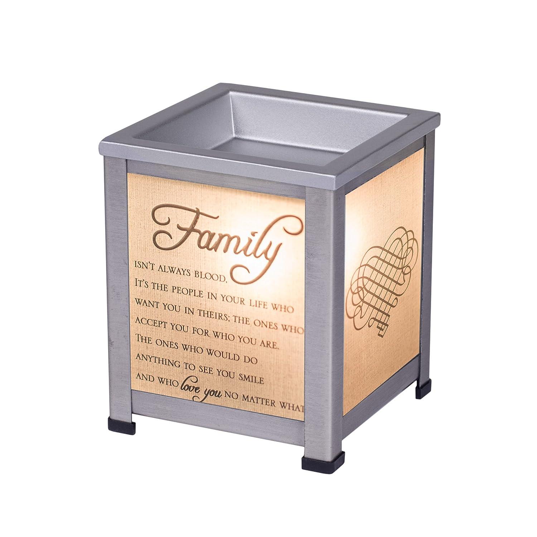 elanze Designs Family Loveシルバートーンメタル電気ワックスTartとオイルガラスランタンWarmer B07BHYY6MX