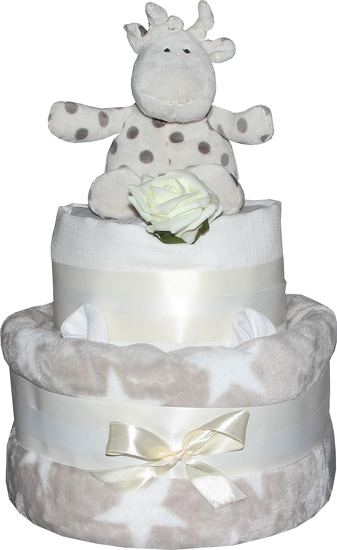 Nappy Cake, Unisex, neutral grau Stern Design Baby Dusche Geschenk zur Geburt Elli oder Raff Greens & Co