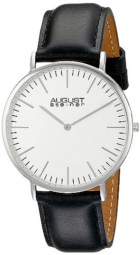 August Steiner AS8084XBK - Reloj de cuarzo para hombre, esfera analógica plateada y