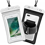Waterproof Case, 2 Pack F-color Clear Waterproof Pouch Floating Dry Case Bag with Armband Compatible with iPhone 7 7 Plus Home Button for iPhone, Google Pixel XL, Samsung, HTC, LG,Huawei, Black White