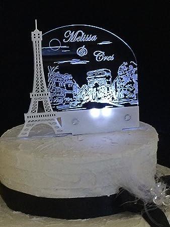 Amazon.com: Paris Romantic Eiffel Tower Wedding Cake Topper ...