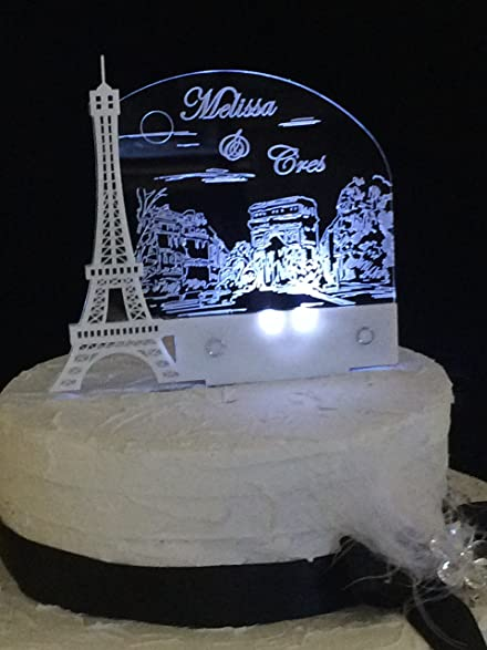 Paris Romantic Eiffel Tower Wedding Cake Topper Personalized With LED Light
