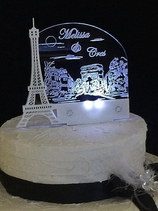 Amazon Paris Romantic Eiffel Tower Wedding Cake Topper