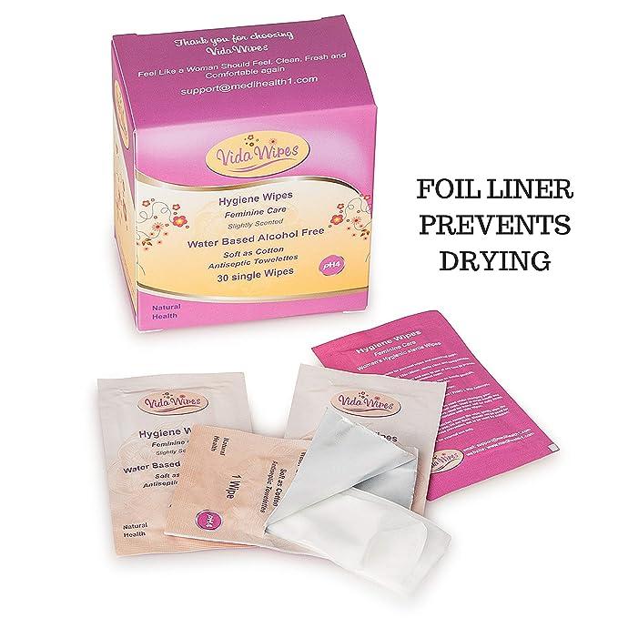 Toallitas húmedas para mujer Higiene íntima Paños de limpieza | Copa antiséptica menstrual y lavado genital | Carteras individuales biodegradables para ...