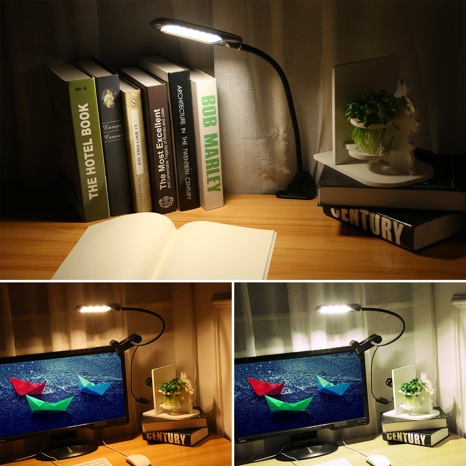 oxyled dimmable eye care led desk lamp clip on book