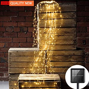 Solar String Lights Outdoor 10 Strands 200 LEDs Waterproof Twinkle Starry LightsWaterfall Vine Branch Lights for Bedroom Garden Yard Home Patio Wedding Party Holiday Christmas Tree Decoration