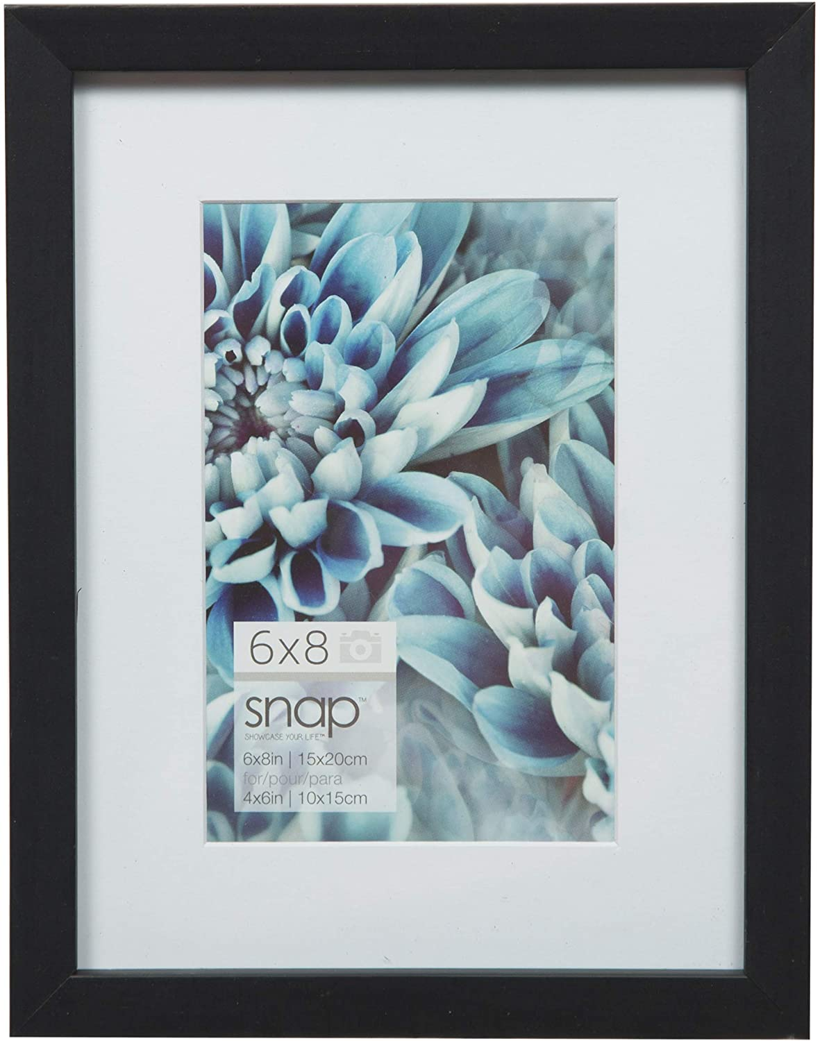 Snap Wall Mount Mat Picture Frame, 6 inches x 8 inches, Black