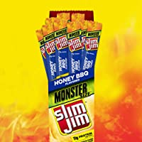 Slim Jim Monster Smoked Meat Sticks, Honey BBQ, Packed with Protein, 1.94 Oz. Sticks, 18 Count