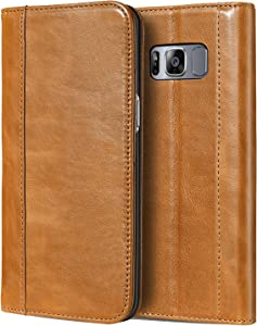 ProCase Galaxy S8 Plus Genuine Leather Case, Vintage Wallet Folding Flip Case with Kickstand and Multiple Card Slots Magnetic Closure Protective Cover for Galaxy S8+ 2017 -Brown