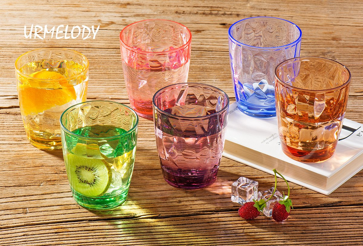 Drinking Glasses Set Acrylic Glassware for Kids 11oz Colored Plastic Tumblers Cups Picnic Water Glasses Unbreakable Juice Drinkware for Camping Restaurant Beach Party BPA Free Dishwasher Safe by Urmelody (Image #4)