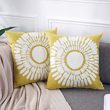 AmHoo Embroidery Cozy Throw Pillow Covers 100% Cotton Decorative Cushion Case Pillowcase for Sofa Couch (A-Yellow, 20 ×20 , 2 Pieces)