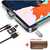 Invisible USB C Hub for iPad Pro, Stouchi 6 in 1 - USB 3.1 (5Gb/s), 4K HDMI, 3.5mm Headphone and Micro/SD Card Readers with a Leather Sheath Compatible 2018 iPad Pro and More