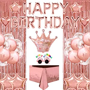 Birthday Party Decorations Supplies Set (46pcs) Rose Gold Happy Birthday Banner, Crown Heart Star Balloons, Party Sunglasses, Tablecloth Foil Fringe Curtain for Wedding Graduation Anniversary New Year Party