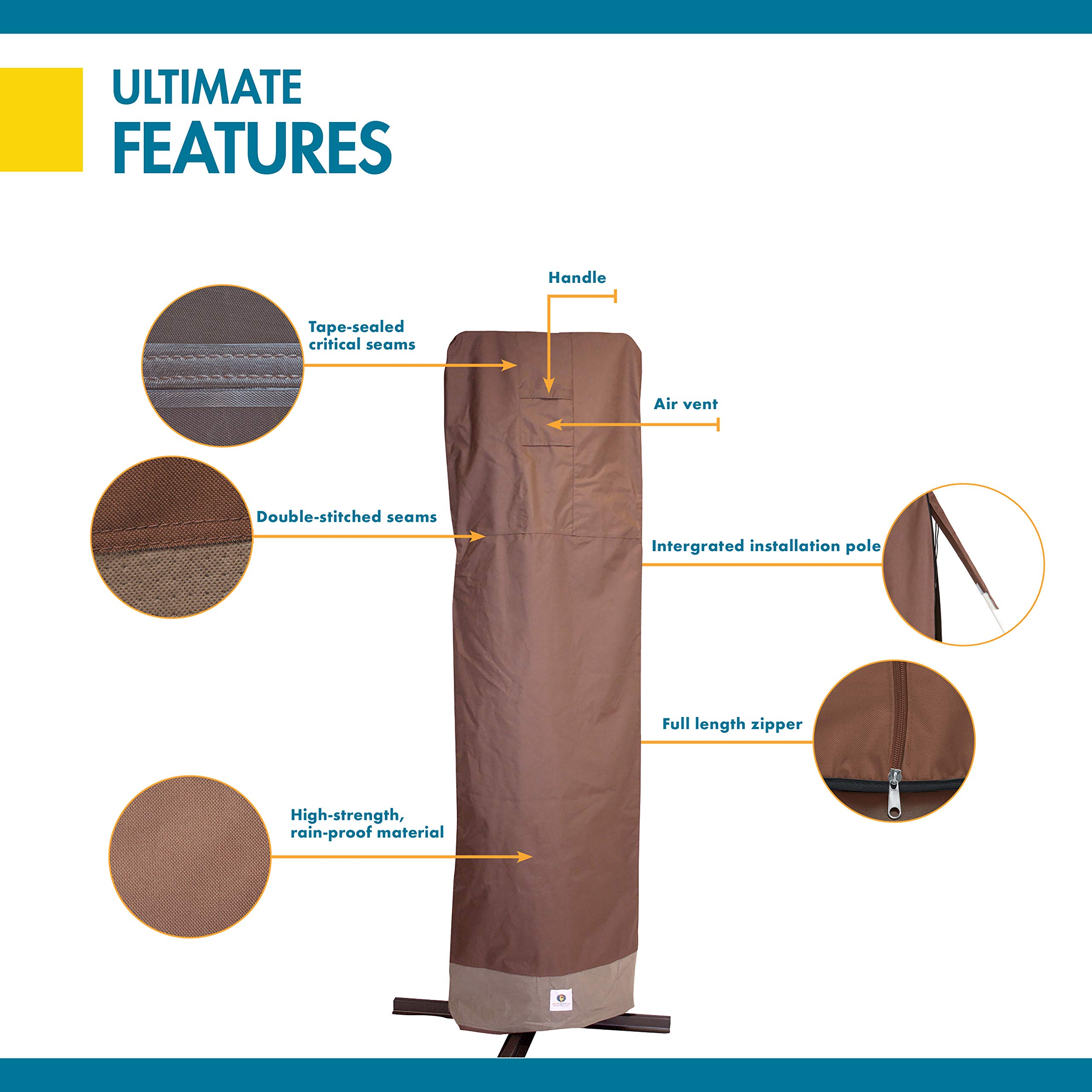Duck Covers Ultimate Offset Patio Umbrella Cover with Installation Pole by Duck Covers (Image #4)
