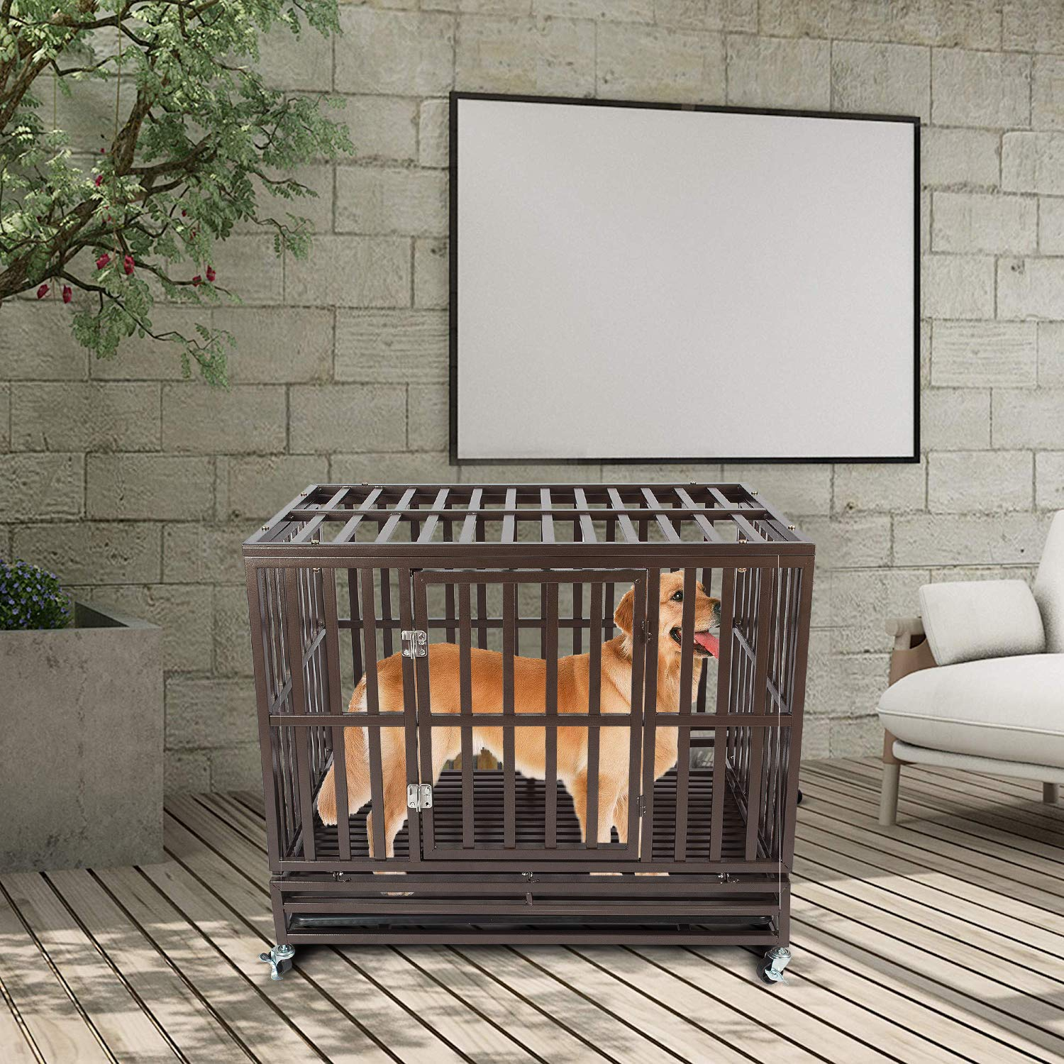 Haige Pet Your Pet Nanny 42'' Heavy Duty Dog Crate Cage Kennel and Playpen Steel Strong Metal for Medium and Large Dogs with Patent Lock and Four Lockable Wheels, Black by Haige Pet Your Pet Nanny (Image #5)