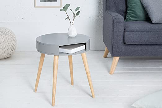 DuNord Design – Mesa auxiliar redonda madera – Mesa redonda gris ...