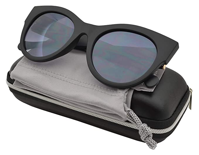 e3e9b6285323 Froya Women Bold Oversized Chunky Cat Eye Vintage Sunglasses (Black +  Gradient)