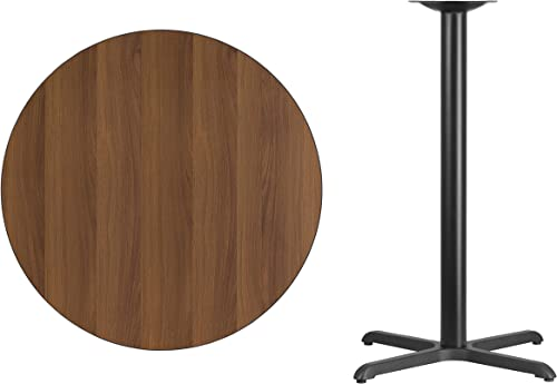 Flash Furniture 36 Round Walnut Laminate Table Top with 30 x 30 Bar Height Table Base