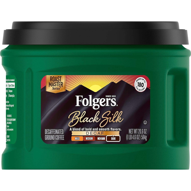 Folgers Black Silk Decaf Dark Roast Ground Coffee, 20.6 Ounces