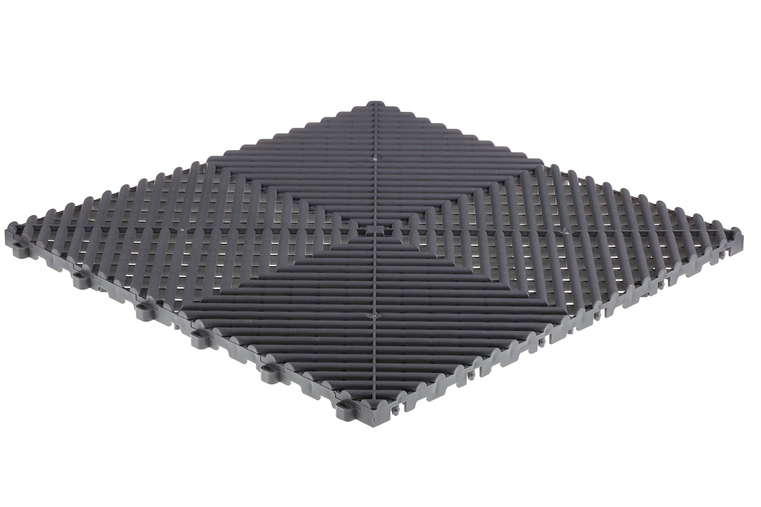 Swisstrax (A504.000.203-25) Ribtrax Modular Flooring Tile, Slate Grey - (Pack of 25)