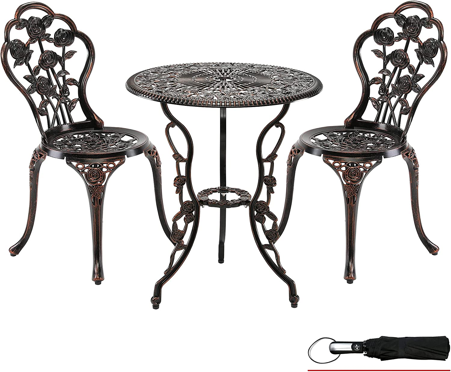 LZRS 3-Piece Outdoor Patio Bistro Set Table and Chairs Furniture w/Rose Design for Garden, Porch, Backyard, Cast Aluminum with Umbrella Hole, Durable Rust Weather Resistance, Bronze