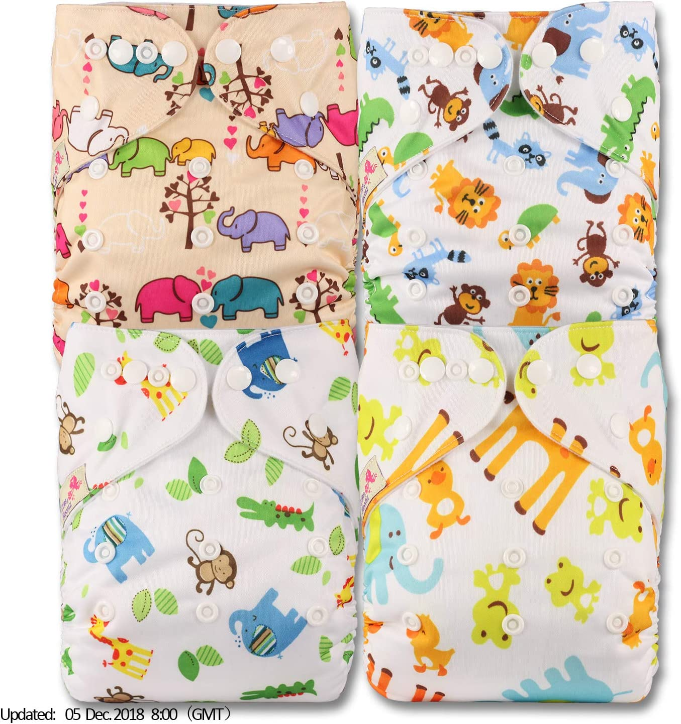 Patterns 415 with 8 Bamboo Inserts Littles /& Bloomz Set of 4 Reusable Pocket Cloth Nappy Fastener: Popper