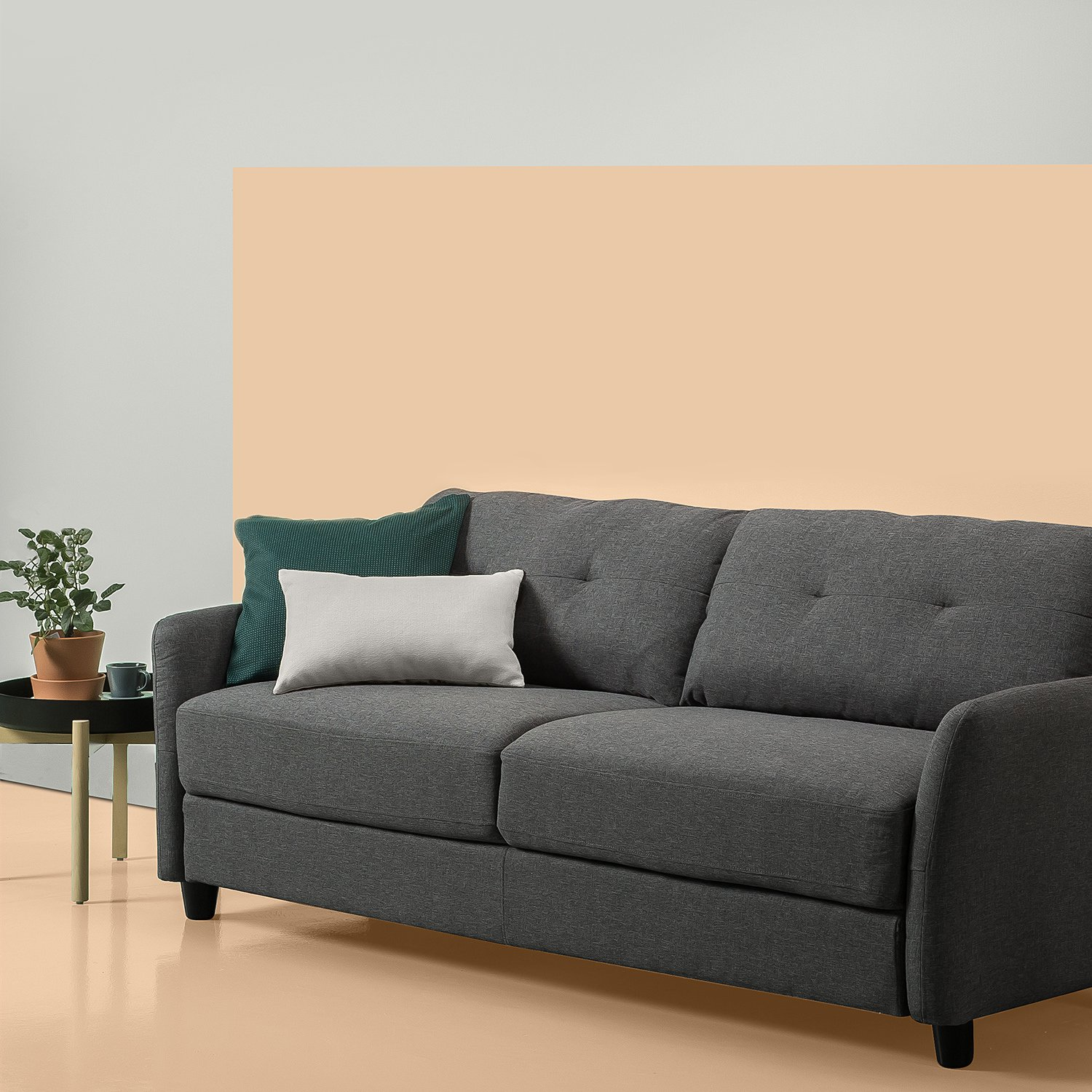 Zinus Contemporary Upholstered 78in Sofa / Living Room Couch, Dark Grey