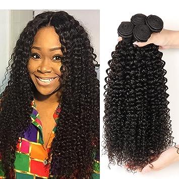 1038b0552 Amazon.com : Brazilian 10A Grade Brazilian Virgin Curly Hair Weave 4 Bundles  Unprocessed Brazilian Kinky Curly Human Hair Extensions Natural Black Color  ...