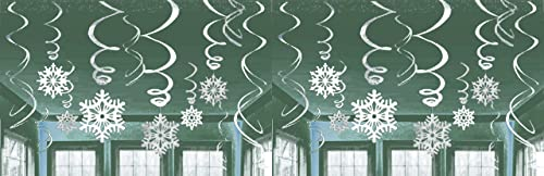 19 x Silver & White Assorted Snowflakes Hanging Swirls Dangling Ceiling Christmas Frozen Window Decoration Xmas Accessories