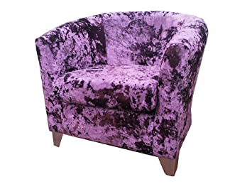 luxury traditional shape tub chair upholstered in a quality crushed