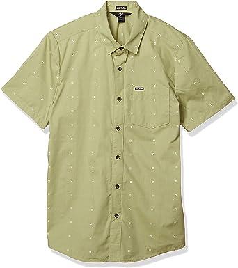 Volcom Camisa tejida con botones de manga corta Archive Mark para hombre