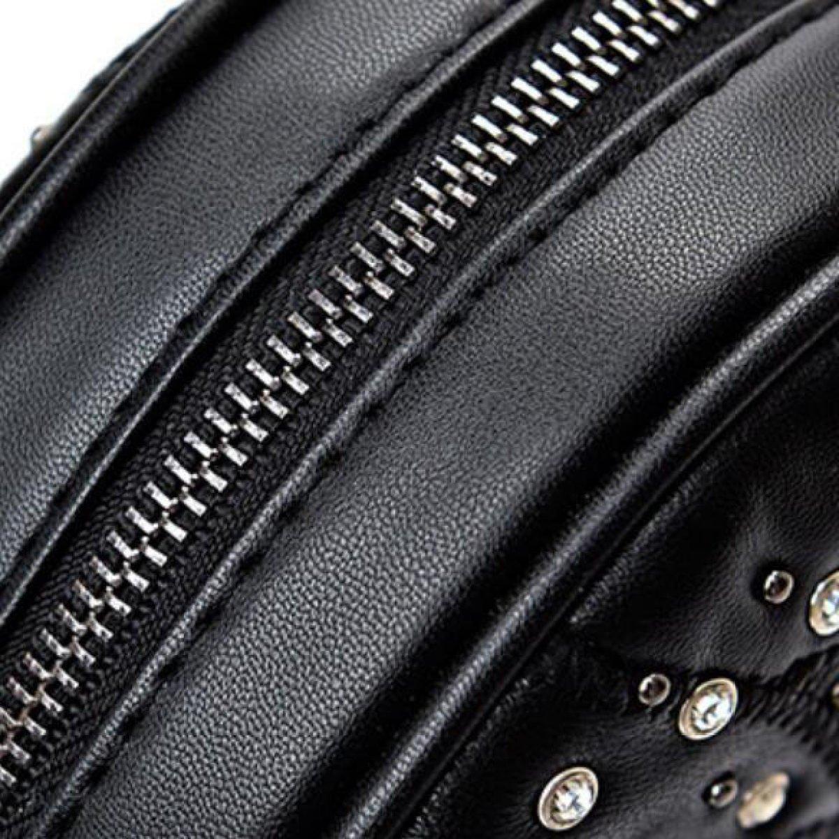 1b6299f46d Nuova Borsa A Tracolla Di Cuoio Alla Moda Trendy Borsa Nera Piccola Borsa  Rotonda,Black-OneSize: Amazon.it: Abbigliamento