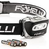 Foxelli Headlamp Flashlight - Super Bright, Lightweight Head Lamp, Comfortable Headband, Perfect for Runners, 3 x AAA…