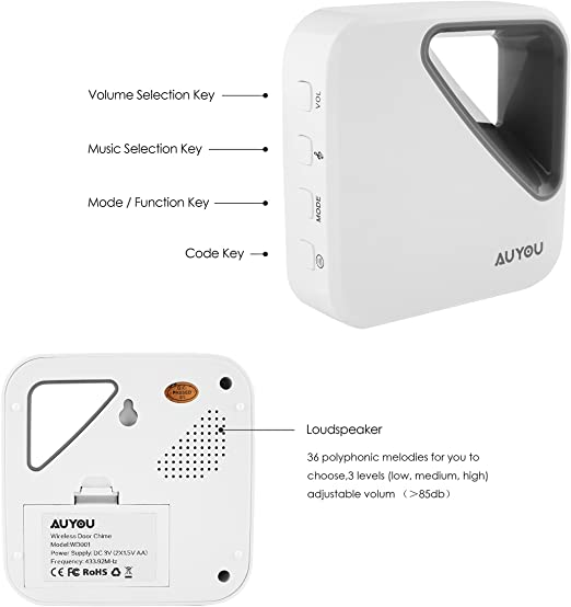 Hotel and Various Entr Suitable For Various House Factories Waterproof Doorbell,Wireless Doorbell Office Power by Coin Battery Waterproof Door Bell,4 Volume Level Adjustment and 51 Music Choices