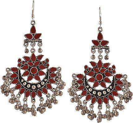 Bollywood Traditional Ethnic Beaded Hoop Danglers Jhumka Jhumki Chandbali Indian Earrings for Women and Girls