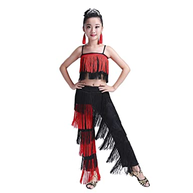 cfa762832fe5 Girl's Latin Dance Dress Tassel Women Tango Salsa Rumba Cha Cha Samba Tango  Dance Performance Clothes